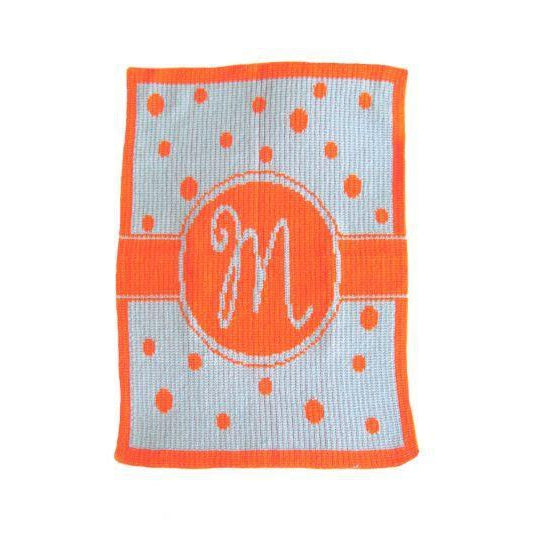 Single Initial Polka Dot Banner Personalized Stroller Blanket or Baby Blanket-Blankets-Jack and Jill Boutique