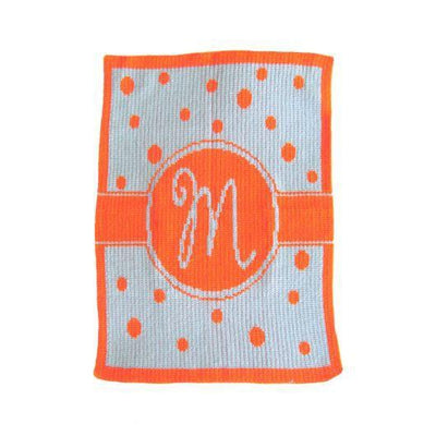 Single Initial Polka Dot Banner Personalized Stroller Blanket or Baby Blanket-Baby Blanket-Jack and Jill Boutique