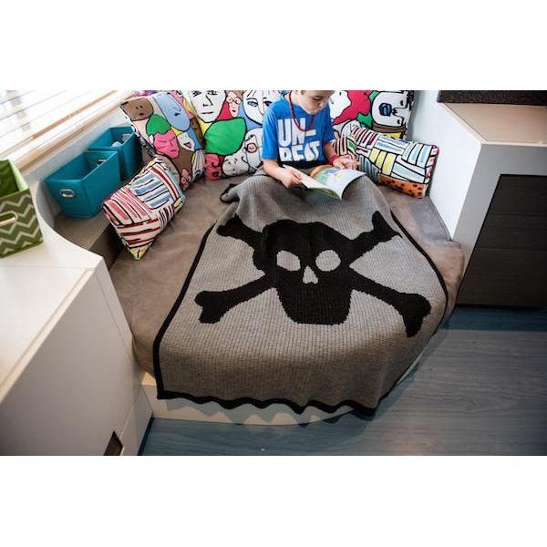 Skull and Crossbones Personalized Stroller Blanket or Baby Blanket