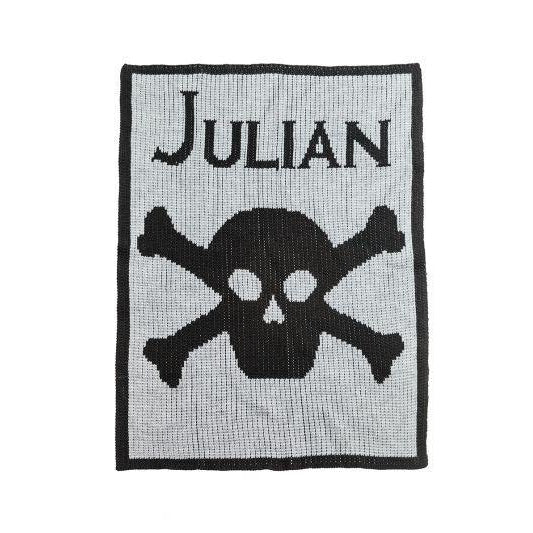 Skull and Crossbones Personalized Stroller Blanket or Baby Blanket-Baby Blanket-Jack and Jill Boutique