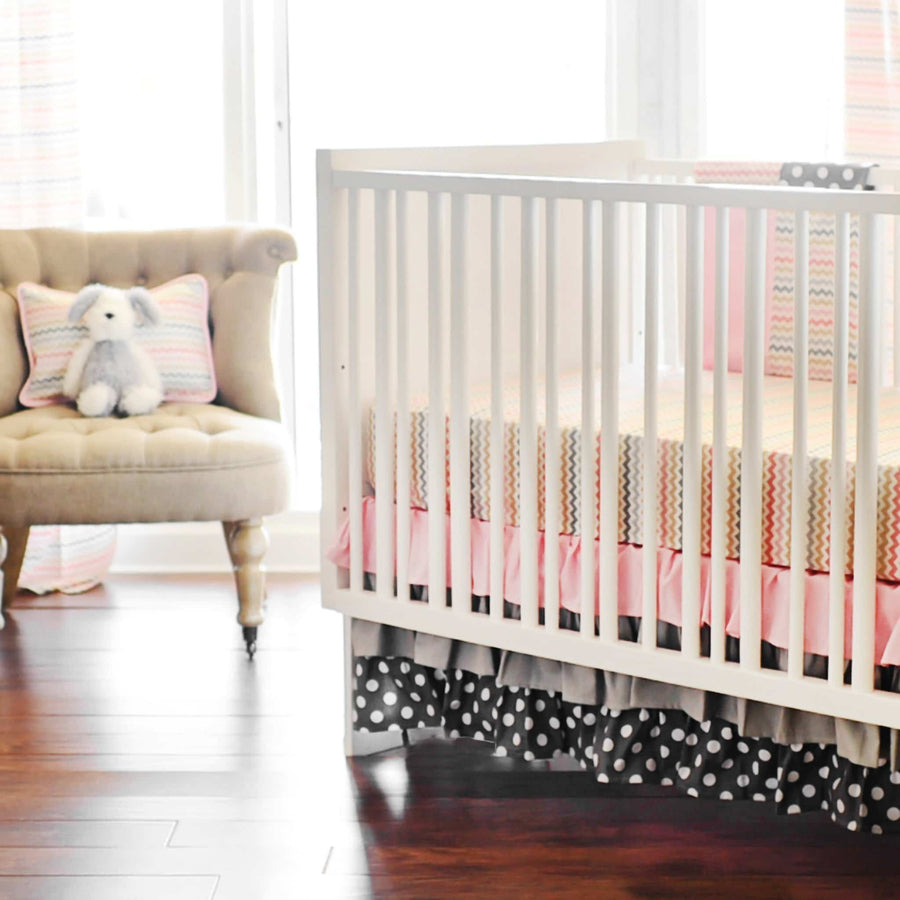 Sophie Pink and Khaki Baby Bedding Set