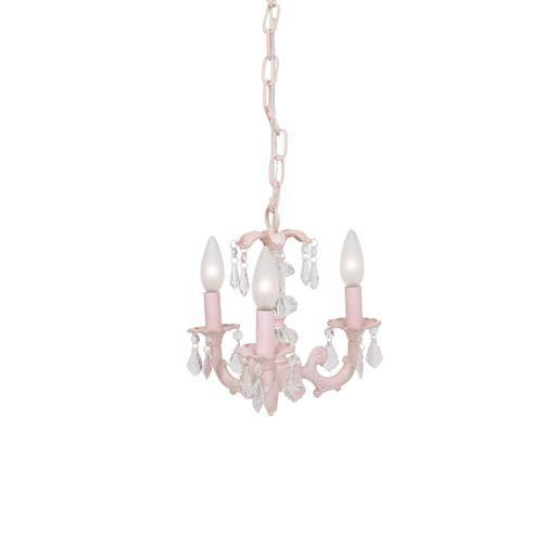 Stacked Glass Ball Pink Three-Light Mini Chandelier-Chandeliers-Default-Jack and Jill Boutique