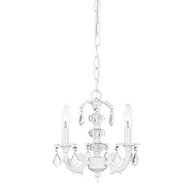 Stacked Glass Ball White Three-Light Mini Chandelier-Chandeliers-Default-Jack and Jill Boutique