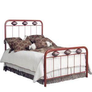 Standard Bed W/ Footballs Queen-Brass Bed-Jack and Jill Boutique
