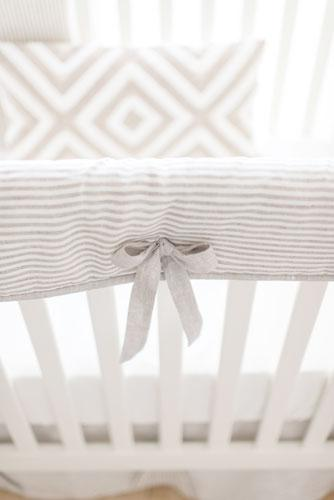 Crib Rail Cover - Washed Linen  | Ecru Stripe Collection