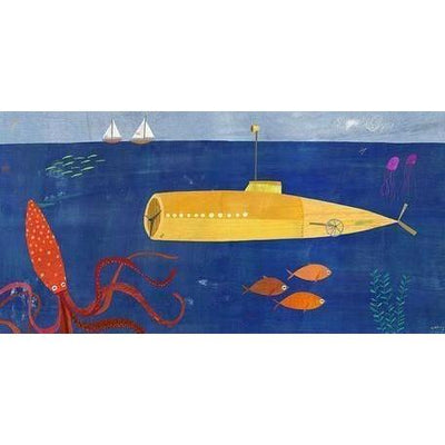 Submarine and Octopus | Canvas Wall Art-Canvas Wall Art-Jack and Jill Boutique