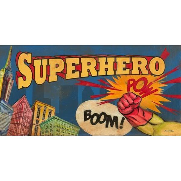 Superhero Pow Skyline | Superhero Art Collection | Canvas Art Prints-Canvas Wall Art-Jack and Jill Boutique