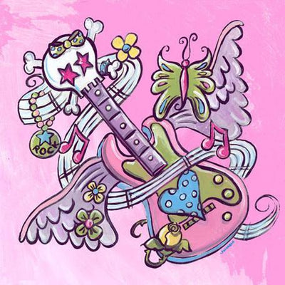 Tattoo - Guitar - Pink | Canvas Wall Art-Canvas Wall Art-Jack and Jill Boutique