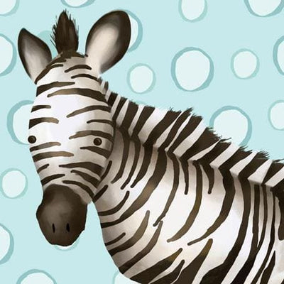 Timmy the Zebra - Blue | Canvas Wall Art-Canvas Wall Art-Jack and Jill Boutique