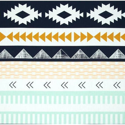 Tupac's Aztec Baby Bedding | Arid Horizon Triangles with Navy Mint and Mustard Tailored Skirt-Crib Bedding Set-5 piece as shown-Jack and Jill Boutique