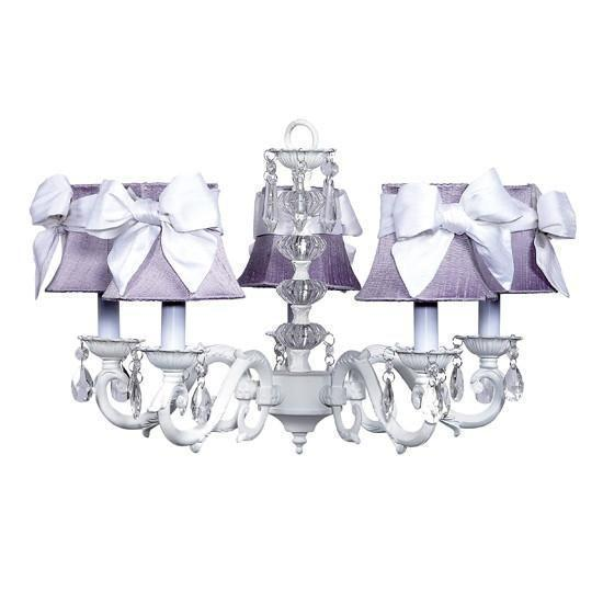 Turret White Five-Light Chandelier with Lavender Shades and White Sashes-Chandeliers-Default-Jack and Jill Boutique
