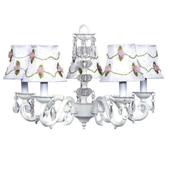 Turret White Five-Light Chandelier with Pink Net Flower Shades-Chandeliers-Default-Jack and Jill Boutique