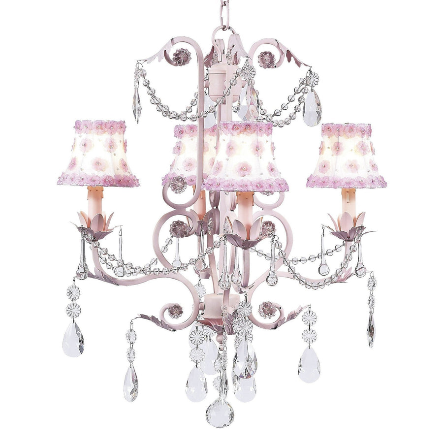 Valentino Pink Four-Light Chandelier with Petal Flower White/Pink Chandelier Shades