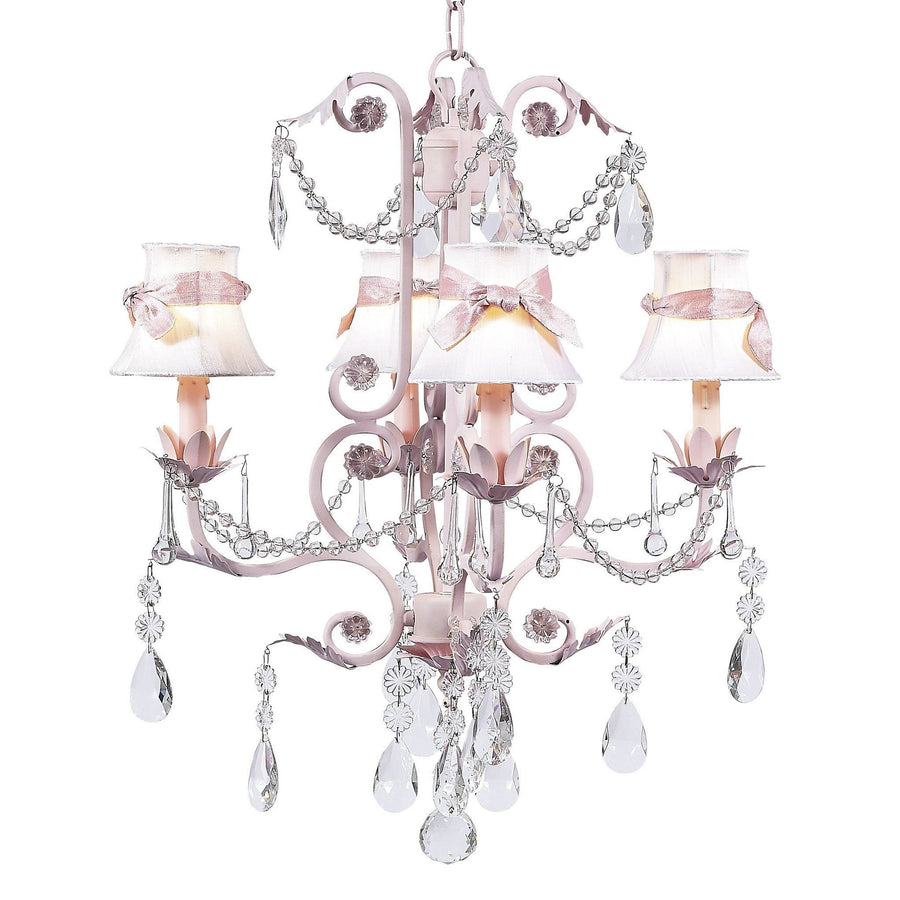 Valentino Pink Four-Light Chandelier with Plain White with Sash Chandelier Shades