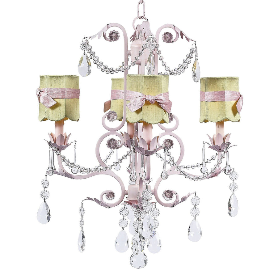 Valentino Pink Four-Light Chandelier with Scallop Drum Green with Sash Chandelier Shades