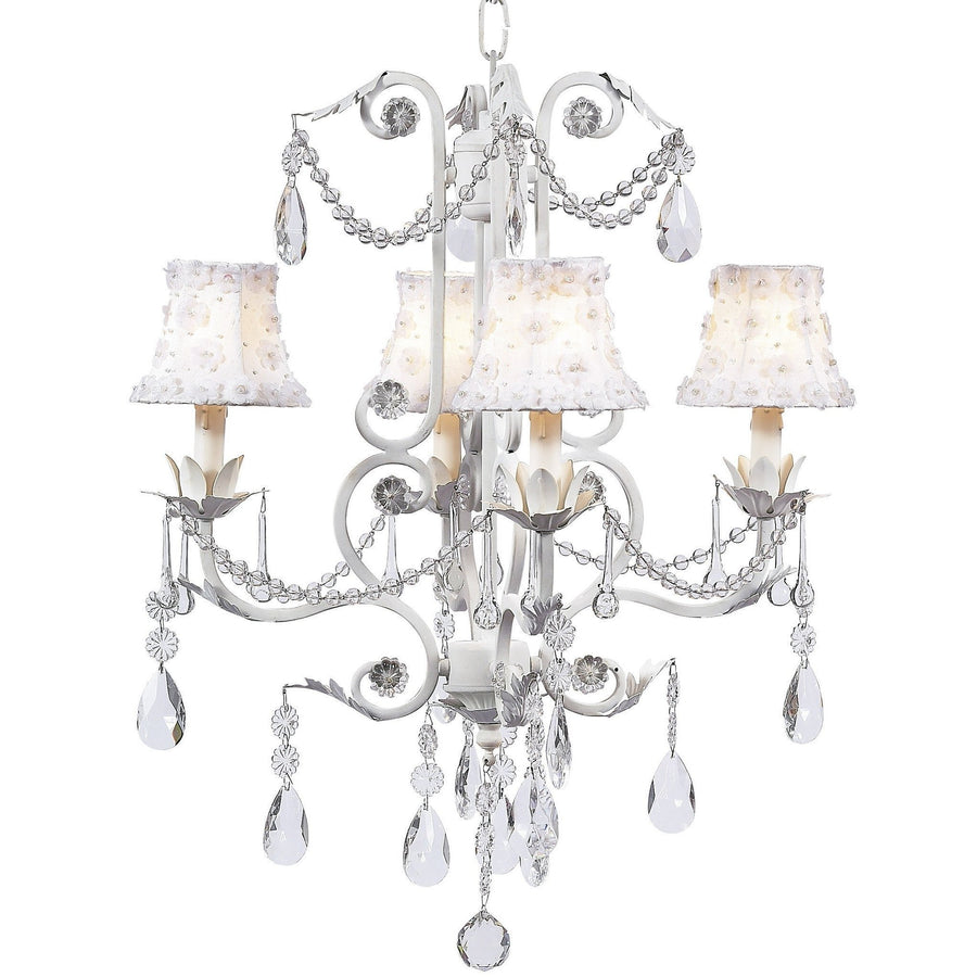 Valentino White Four-Light Chandelier with Petal Flower White Chandelier Shades