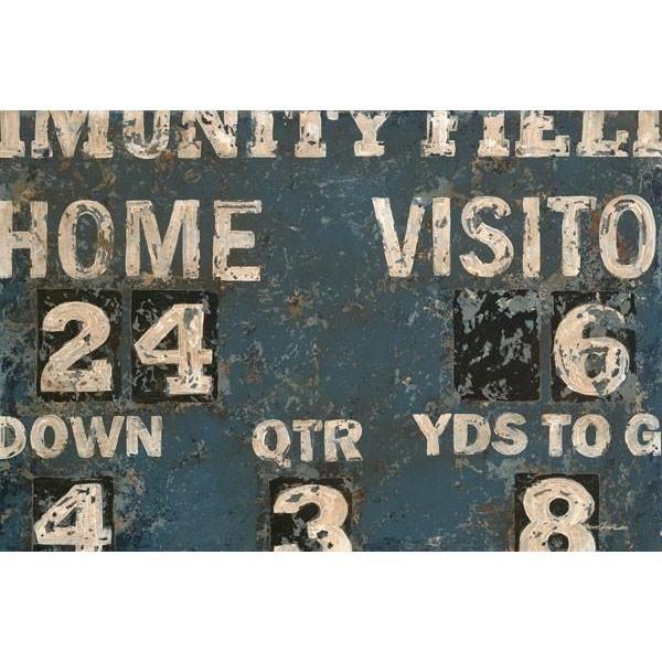 Vintage Blue Football Scoreboard | Sports Art Collection | Canvas Art Prints