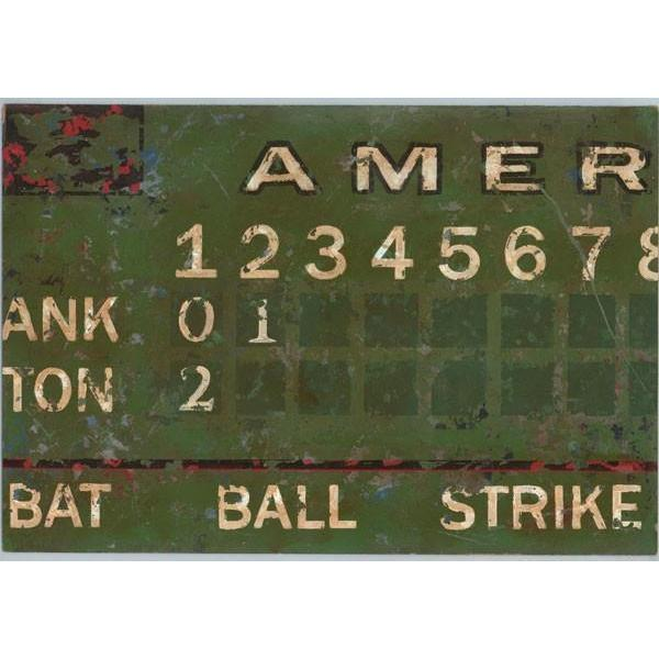 Vintage Green Baseball Scoreboard Sports Art Collection