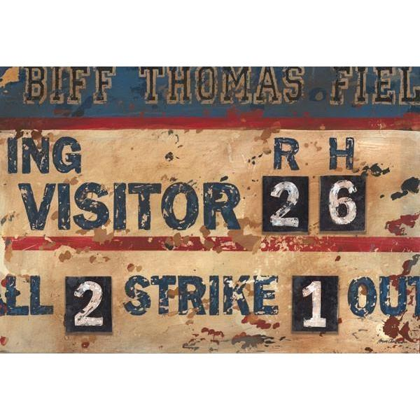 Vintage Navy Amp Cream Baseball Scoreboard Sports Art