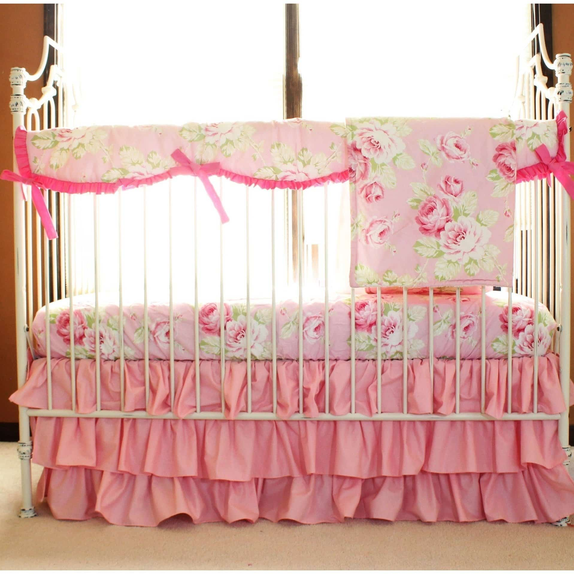 Vintage Shabby Chic Roses Floral Pink | Baby Bedding Set-Crib Bedding Set-Jack and Jill Boutique