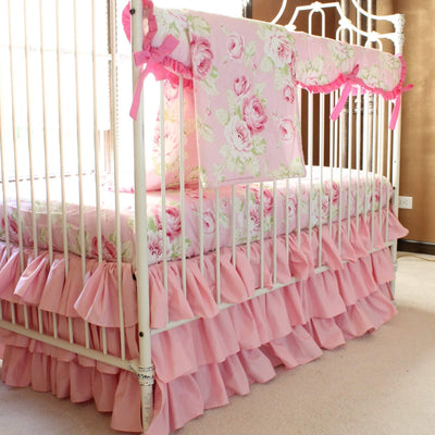 Vintage Shabby Chic Roses Floral Pink | Baby Bedding Set-Crib Bedding Set-Default-Jack and Jill Boutique