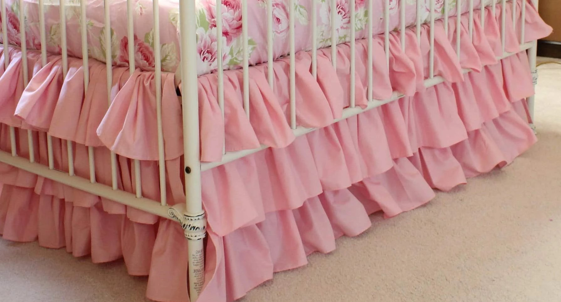 Vintage Shabby Chic Pink Crib Skirt-Crib Skirt-Default-Jack and Jill Boutique