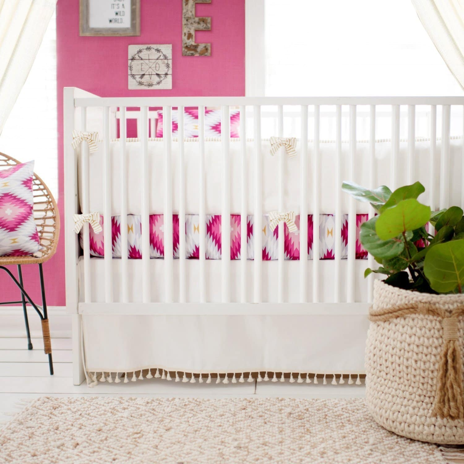 Wander in Pink Baby Bedding | Pink Aztec-Crib Bedding Set-Jack and Jill Boutique