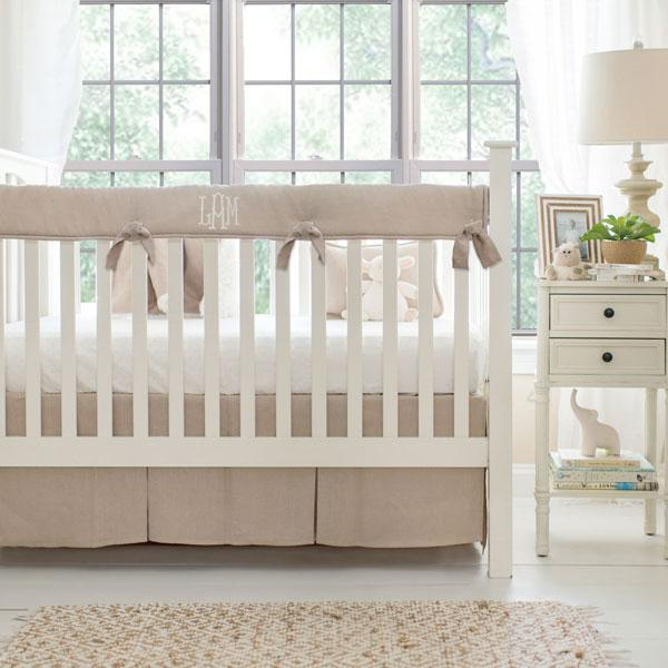 Washed Linen in Flax Baby Bedding Set-Crib Bedding Set-Jack and Jill Boutique
