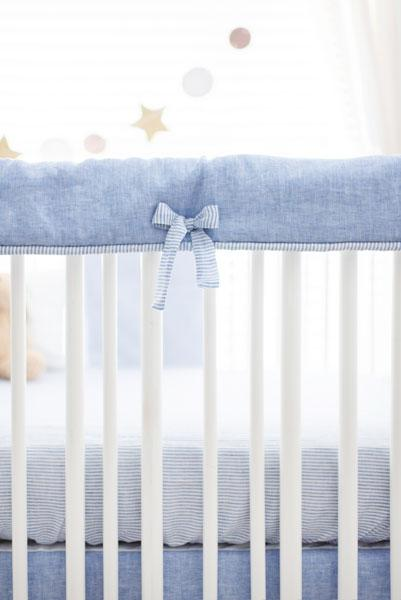 Blue Linen Crib Set-Crib Bedding Set-Jack and Jill Boutique