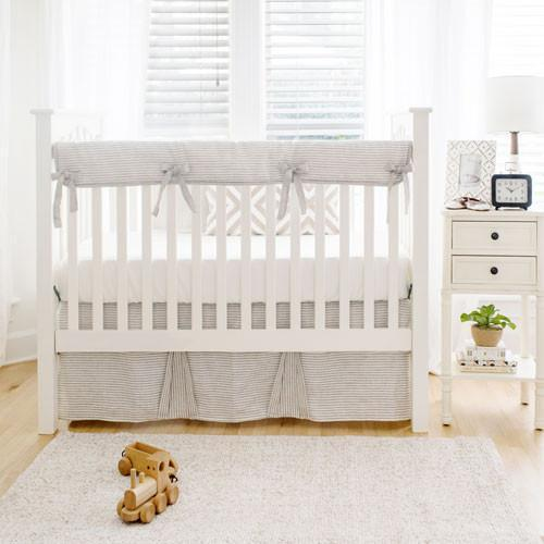 Washed Linen in Ecru Stripe Baby Bedding Set-Crib Bedding Set-Jack and Jill Boutique