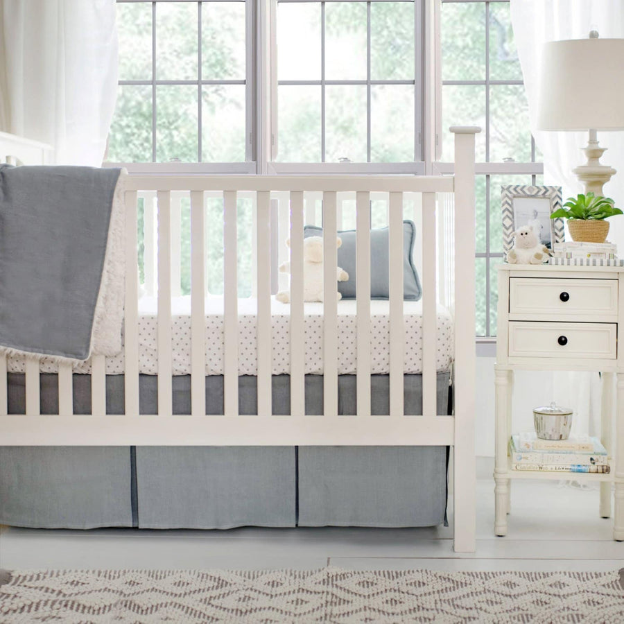 Washed Linen in Gray Baby Bedding Set-Crib Bedding Set-Default-Jack and Jill Boutique
