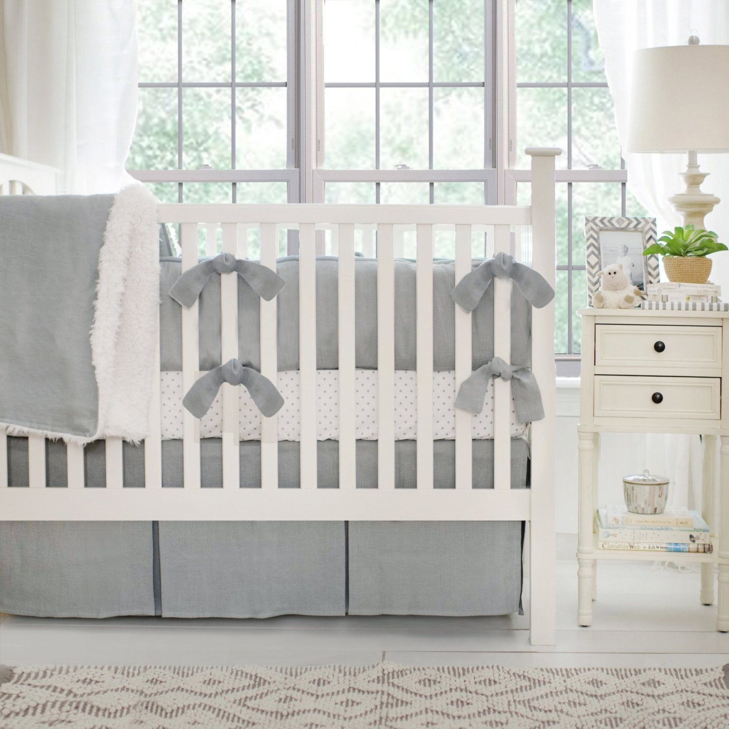 Washed Linen in Gray Baby Bedding Set-Crib Bedding Set-Jack and Jill Boutique