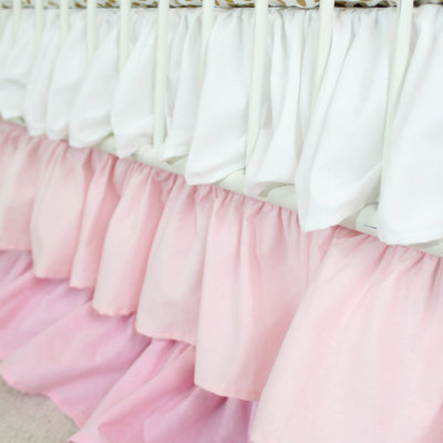 Waterfall Ruffle 3 Tier Crib Skirt | Pink Blush-Crib Skirt-Default-Jack and Jill Boutique