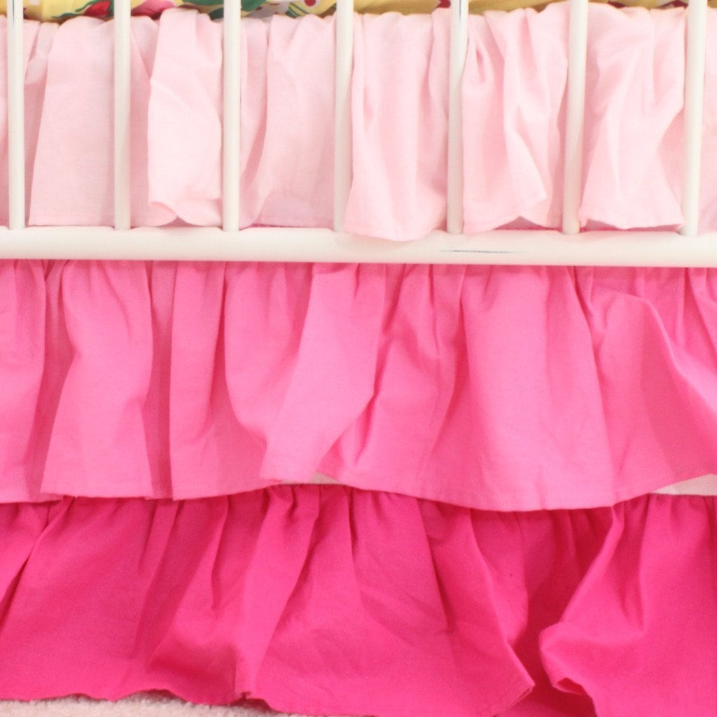 Waterfall Ruffle 3 Tier Crib Skirt | Pink Nursery-Crib Skirt-Default-Jack and Jill Boutique