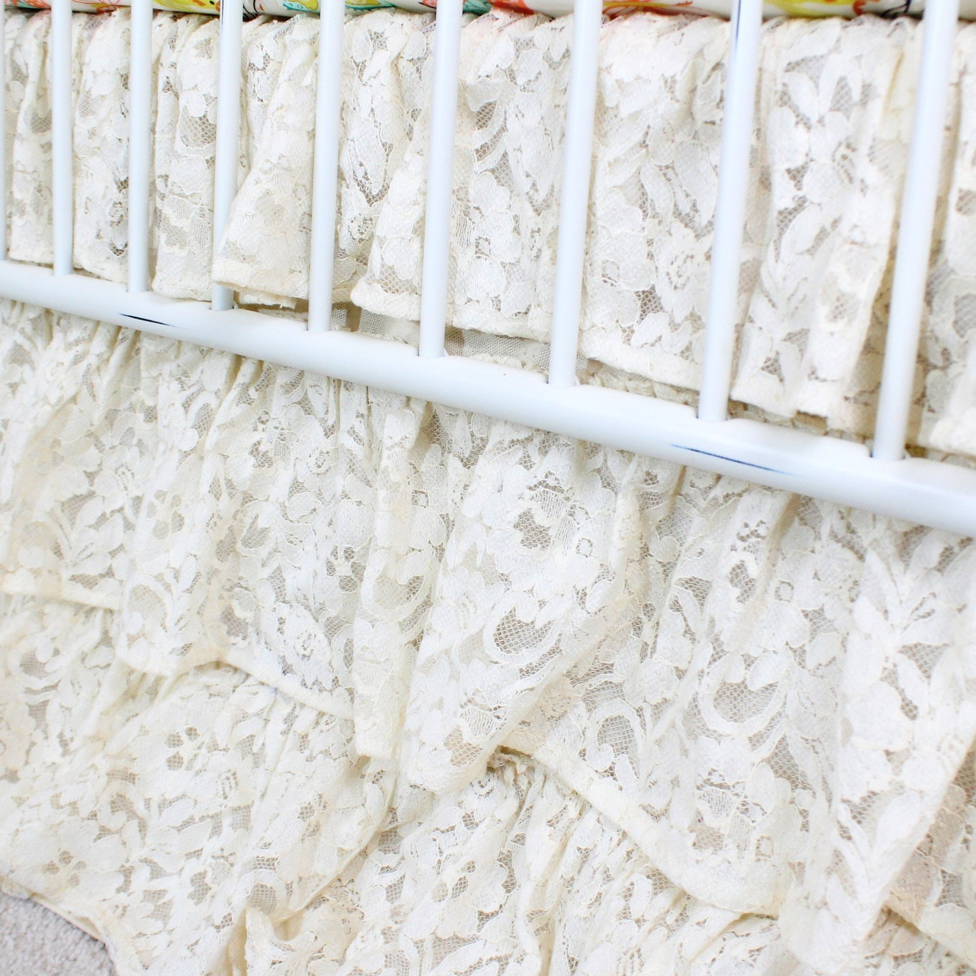 Waterfall Ruffle 3 Tier Crib Skirt | Vintage Lace Ivory-Crib Skirt-Default-Jack and Jill Boutique