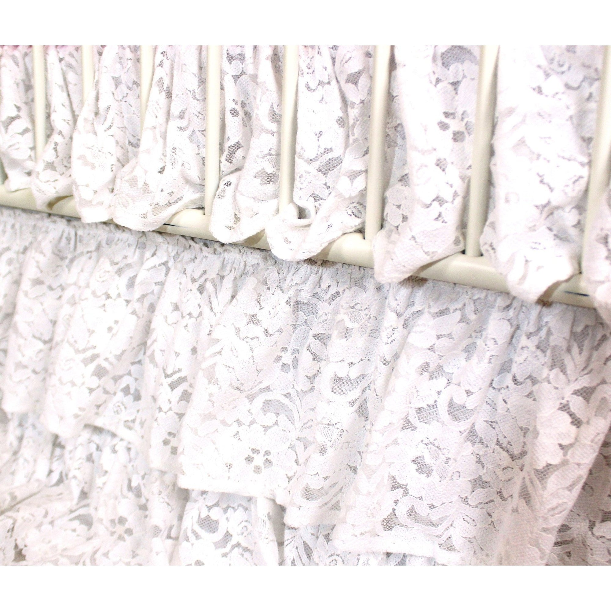 Waterfall Ruffle 3 Tier Crib Skirt | Vintage Lace White-Crib Skirt-Default-Jack and Jill Boutique