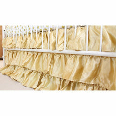 Waterfall Ruffle 3 Tier Skirt | Gold Satin-Crib Skirt-Bold Bedding-Jack and Jill Boutique