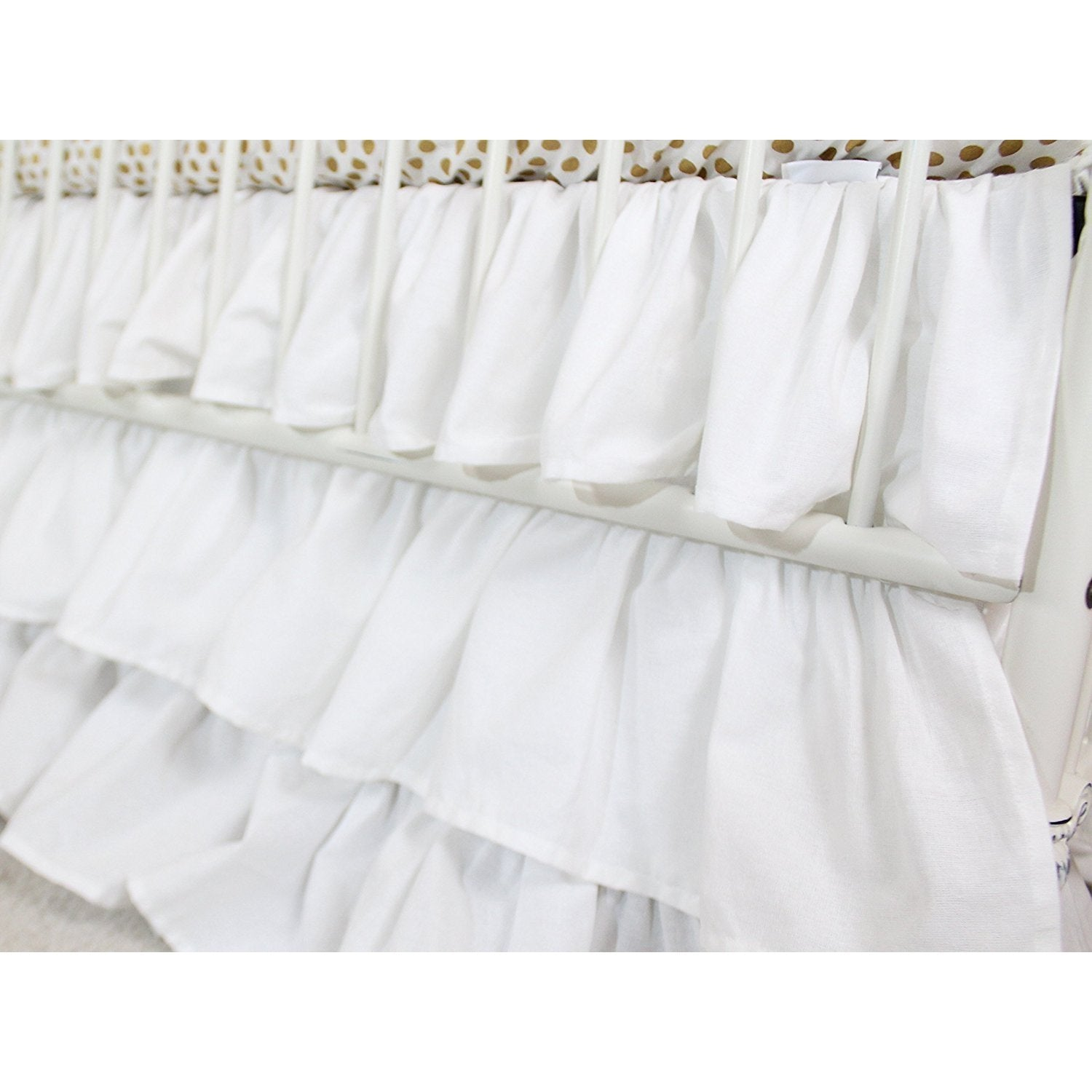 Waterfall Ruffle 3 Tier Skirt | White Cloud Nursery-Crib Skirt-Bold Bedding-Jack and Jill Boutique