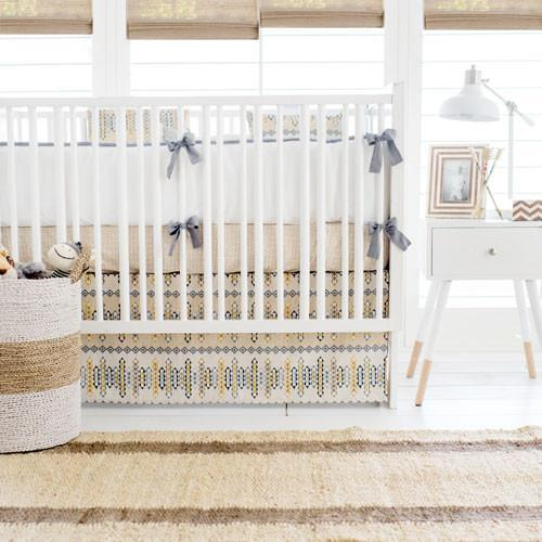 Weave The People Citron Crib Sheet | Aztec Navajo in Gold Crib Baby Bedding Set-Crib Sheets-Default-Jack and Jill Boutique