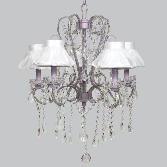 Whimsical Lavender Five Light Chandelier Sheer Skirt Shade-Chandeliers-Default-Jack and Jill Boutique