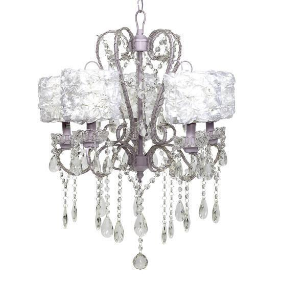 whimsical lavender five light chandelier with shade