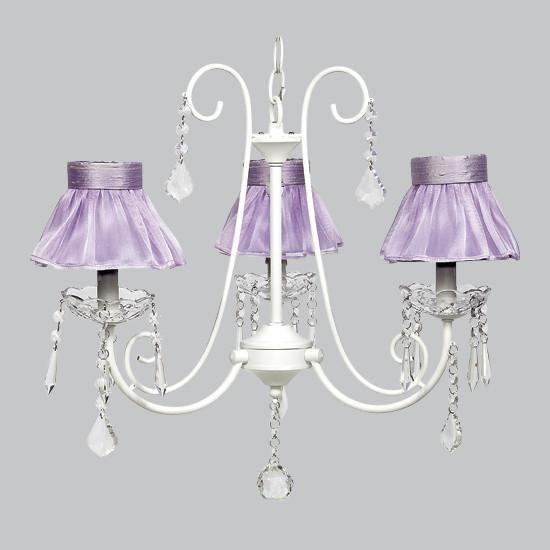 White 3 Light Bliss Chandelier with Lavender Ruffled Sheer Skirt Chandelier Shade