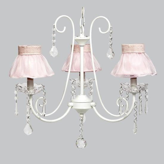 White 3 Light Bliss Chandelier with Pink Ruffled Sheer Skirt Chandelier Shade