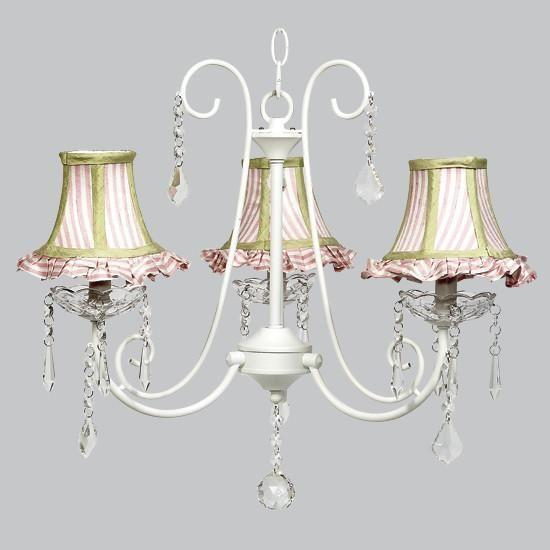 White 3 Light Bliss Chandelier with Pink/White Stripe Shade with Green trim