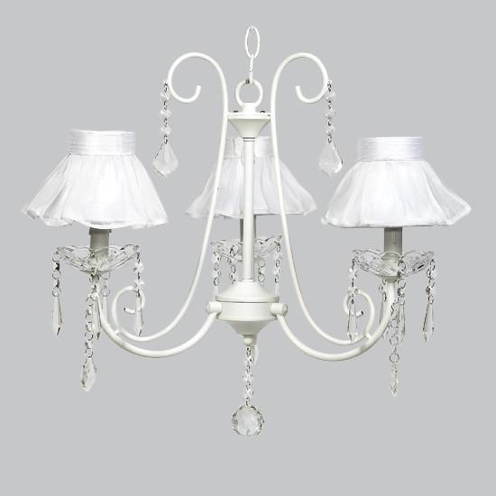 White 3 Light Bliss Chandelier with White Ruffled Sheer Skirt Chandelier Shade