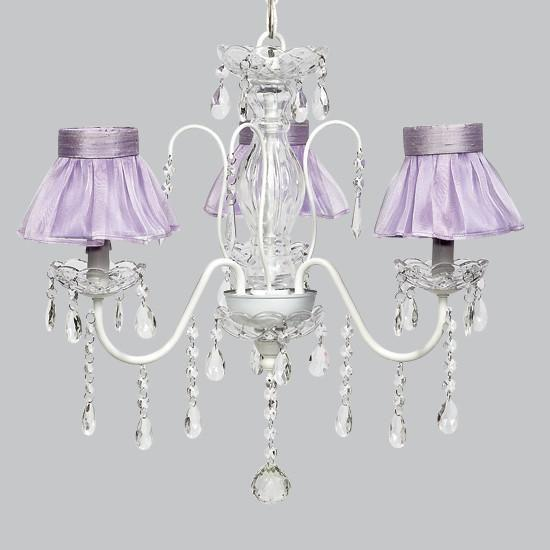 White 3 Light Jewel Chandelier with Lavender Ruffled Sheer Skirt Chandelier Shades