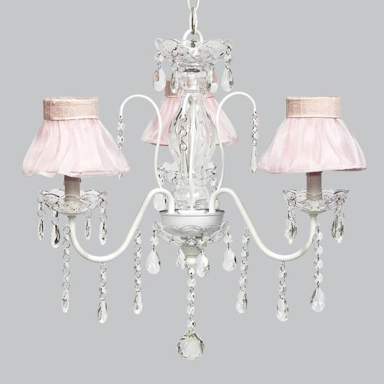 White 3 Light Jewel Chandelier with Pink Ruffled Sheer Skirt Chandelier Shades