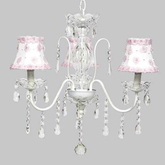 White 3 Light Jewel Chandelier with White & Pink Petal Flower Shades
