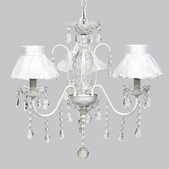 White 3 Light Jewel Chandelier with White Ruffled Sheer Skirt Chandelier Shades-Chandeliers-Default-Jack and Jill Boutique