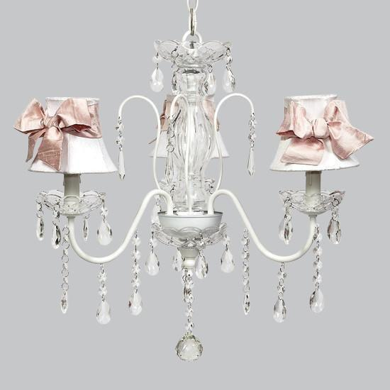 White 3 Light Jewel Chandelier with White Shades and Pink Medium Sashes